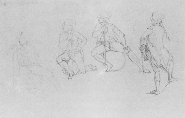 """Study for """"The Siege of Gibraltar"""": Officer in Four Poses"""