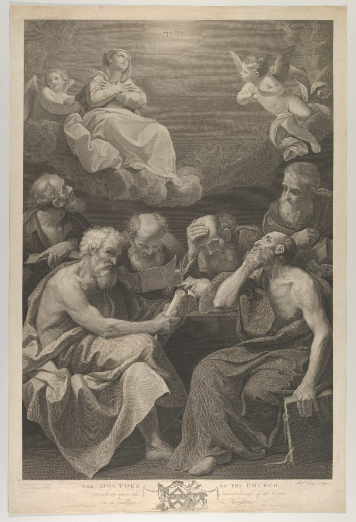 The doctors of the church consulting books and documents and contemplating the Virgin who is shown above in heaven, flanked by angels, after Reni