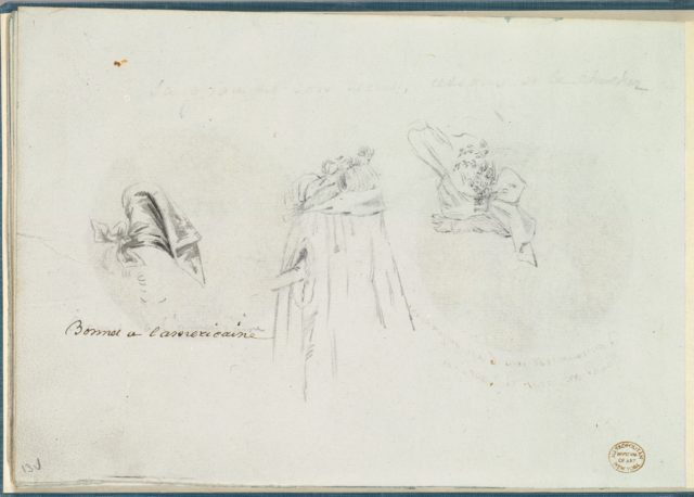 Three Costume Sketches of a Bonnet, a Cloak, and a Hat