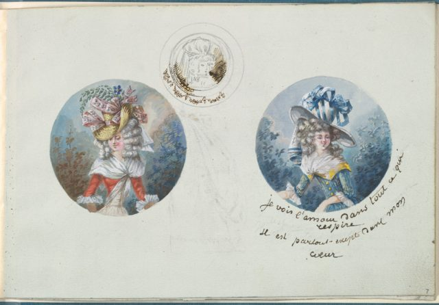 Two Costume Designs or Portrait Types and a Sketch