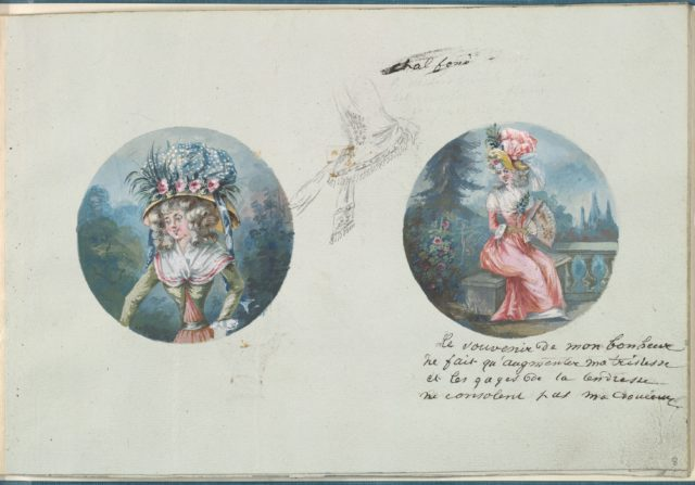 Two Costume Designs or Portrait Types and a Third Costume Sketch