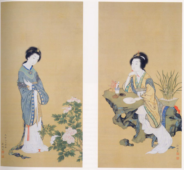 Yanji with Orchids and Yang Guifei with Peonies