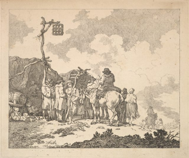 A Fair – A Group of Gypsies – Men and Women in Rustic Clothes in Front of Two Makeshift Tents
