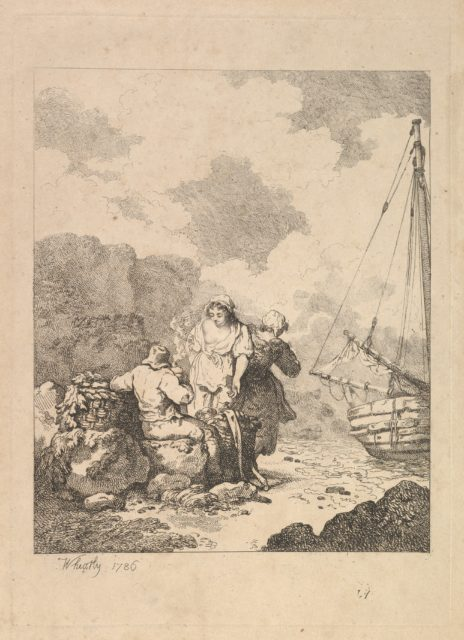 Fishermen by the Shore – Coastal Scene with a Man Sitting on Rocks and Smoking a Pipe, Next to a Standing Young Woman, with a Second Woman Behind