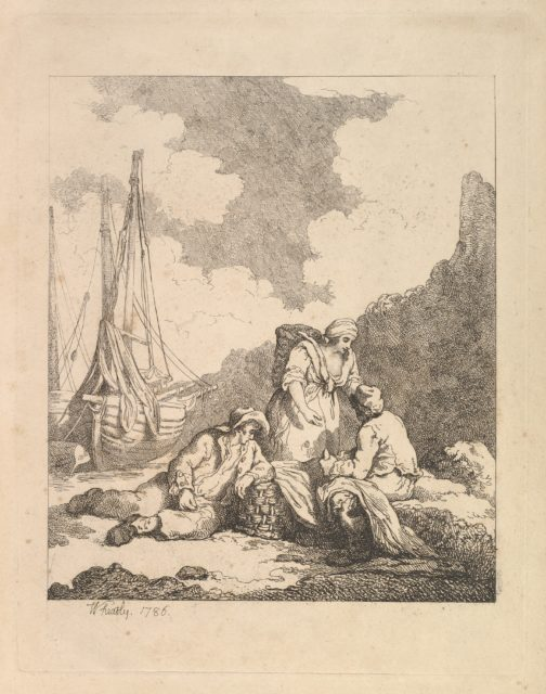 Fishermen by the Shore – Coastal Scene with a Man Sitting on the Ground Resting an Elbow on a Fishing Basket, Another Man Opposite Mending a Sail, and a Woman Standing Between Them Carrying a Basket on Her Back