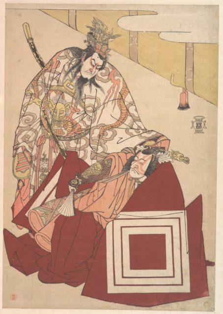 Ichikawa Danjuro V in a Shibaraku Performance from the Play Mutsu no Hana no kata age