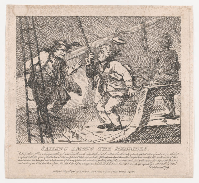 Sailing Among the Hebrides, the Journalist Holding a Rope's End (Picturesque Beauties of Boswell, Part the Second)