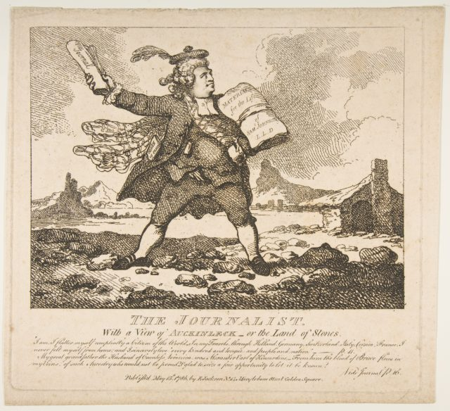 The Journalist, With a View of Auckinleck, or the Land of Stones (Picturesque Beauties of Boswell, Part the First)