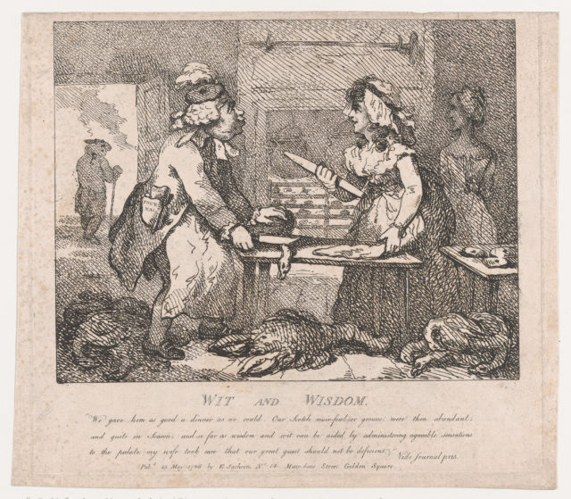 Wit and Wisdom Making Preparations for Dinner (Picturesque Beauties of Boswell, Part the First)