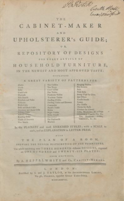 The cabinet-maker and upholsterer's guide, or, Repository of designs for every article of household furniture, in the newest and most approved taste : displaying a great variety of patterns for chairs, stools ... in the plainest and most enriched styles : with a scale to each, and an explanation in letter press : also the plan of a room, shewing the proper distribution of the furniture ... from drawings