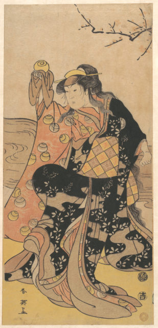 The Fourth Iwai Hanshiro as a Woman Holding a Crystal Ball and Dancing on the Bank of a Stream