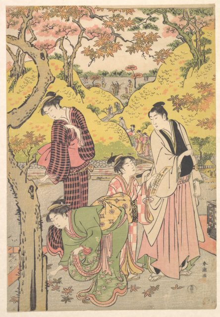 A Young Man, Two Young Women and a Girl at a Picnic Party