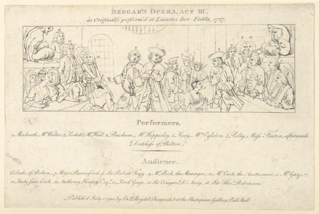 Key with List of Performers and Audience to: The Beggars Opera