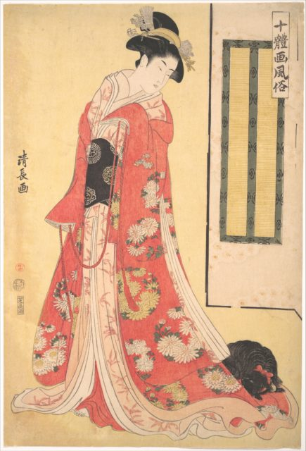 Pictures of Ten Styles (Jittaiga Fuzoku): A Young Woman with a Dog
