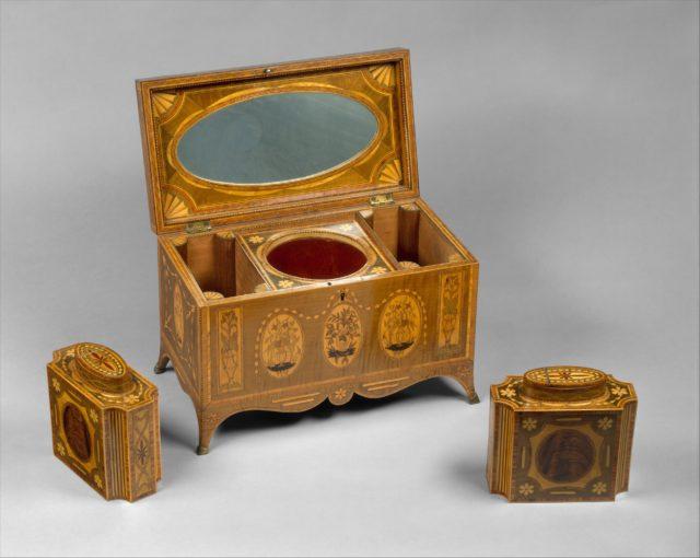 Tea chest with tea caddies