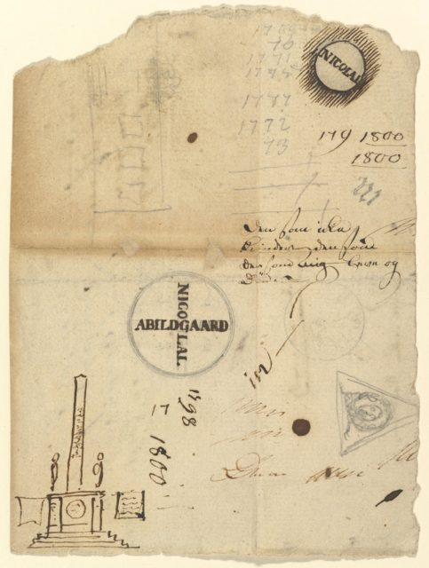 Notes with a studies for the Column of Liberty (Frihedstøtten)