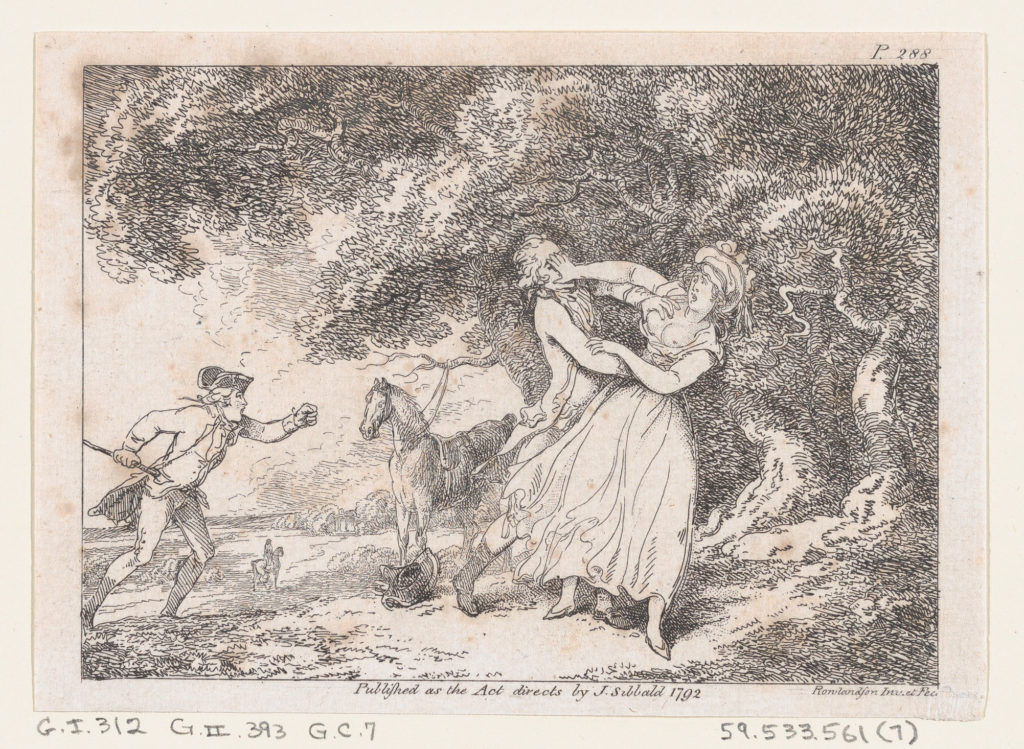 """Joseph Hastens to Rescue Fanny from Imminent Danger..., illustration to Henry Fielding's """"Adventures of Joseph Andrews, and his friend Mr Abraham Adams"""""""