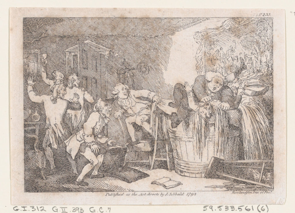 """Parson Adams Betrayed into an Unhappy Dunking Scene..., illustration to Henry Fielding's """"Adventures of Joseph Andrews, and his friend Mr Abraham Adams"""""""