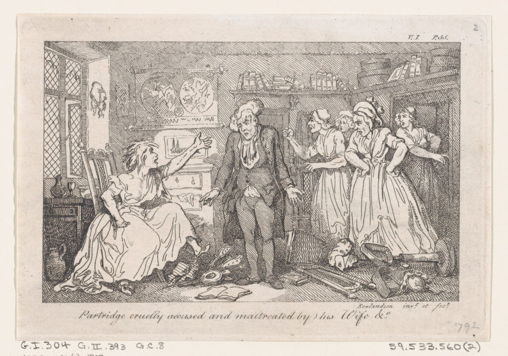 """Partridge cruelly accused and maltreated by his Wife &..., illustration to Henry Fielding's """"The History of Tom Jones, a Foundling"""" (Edinburgh, 1791), Vol. I (Book I, chapter 4)"""