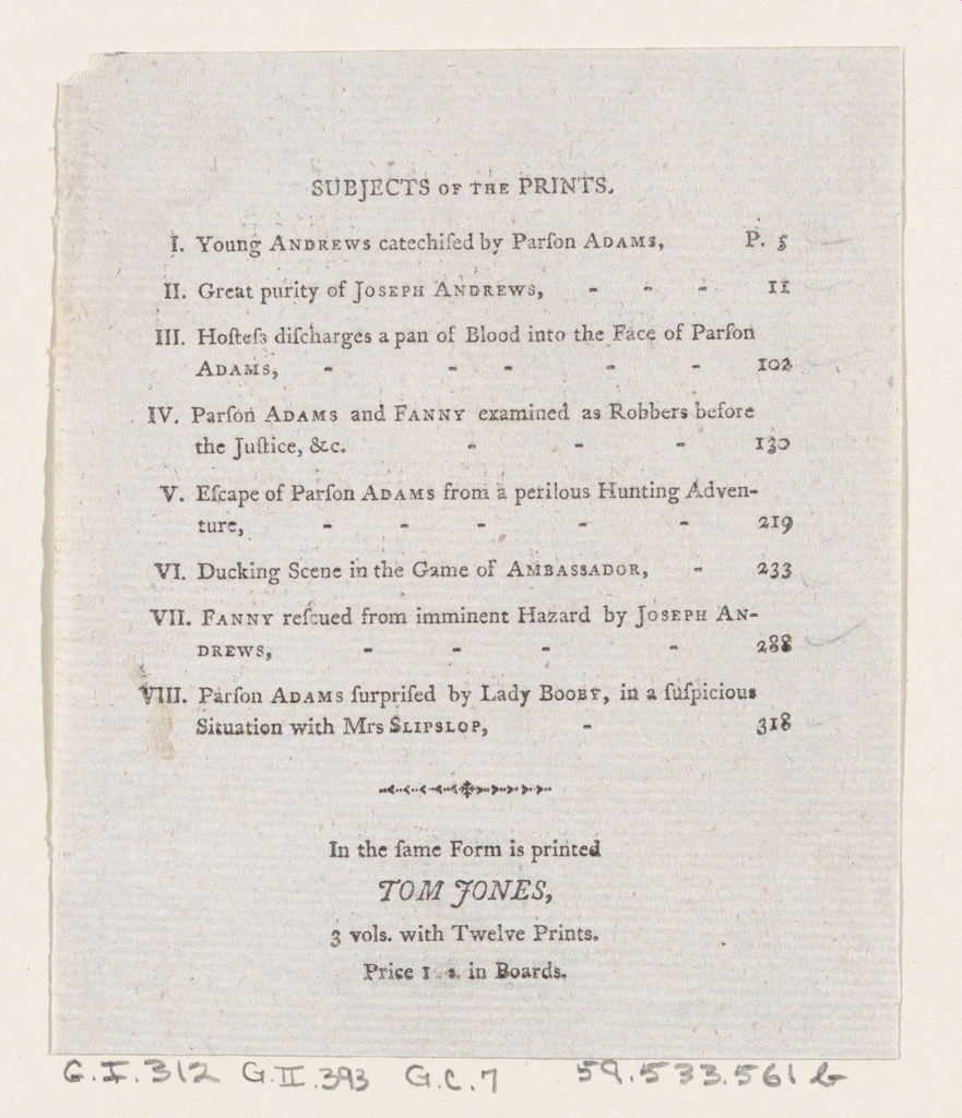 """Table of Contents, from Henry Fielding's """"Adventures of Joseph Andrews, and his friend Mr Abraham Adams"""""""