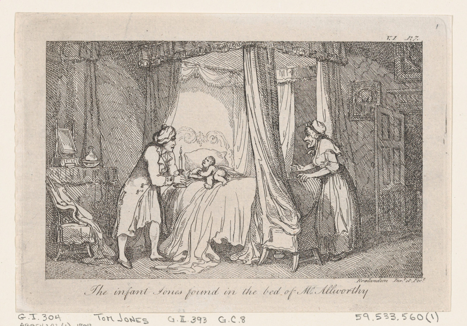 """The infant Jones found in the bed of Mr. Allworthy..., illustration to Henry Fielding's """"The History of Tom Jones, a Foundling"""" (Edinburgh, 1791), Vol. I (Book I, chapter 3)"""