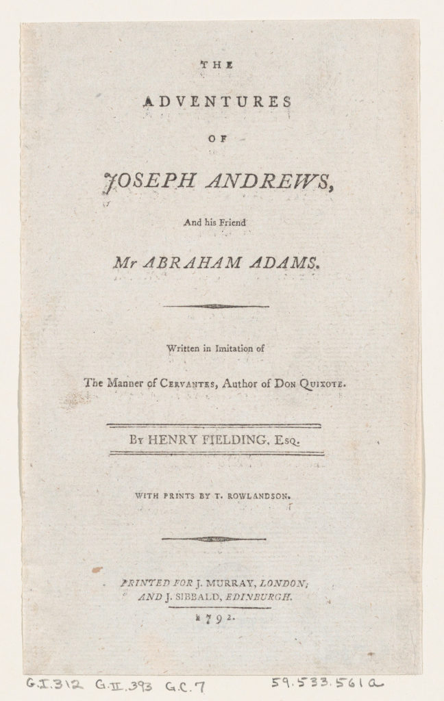 """Title Page, from Henry Fielding's """"Adventures of Joseph Andrews, and his friend Mr Abraham Adams"""""""