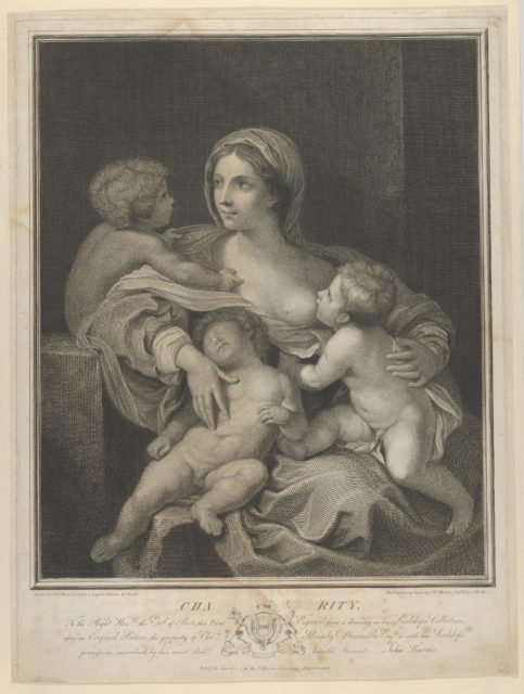 Charity seated nursing an infant, another sleeping on her lap and a third talking to her, after Reni