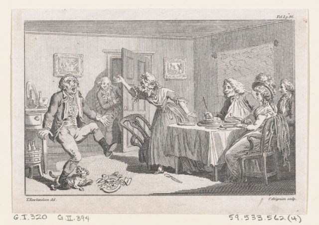 """Humphry Clinker Smashing a Dish at Dinner..., an illustration from Tobias Smollett's """"The Expedition of Humphry Clinker"""" (London, 1793), Vol. 1"""