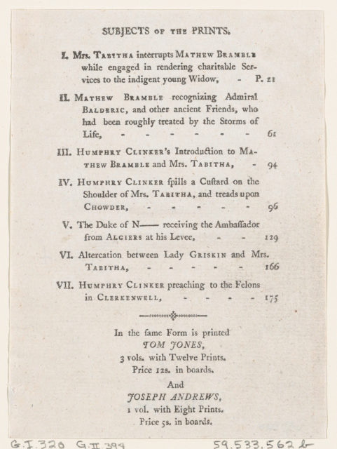 """List of Plates I-VII, from Tobias Smollett's """"The Expedition of Humphry Clinker"""" (London, 1793), Vol. 1"""