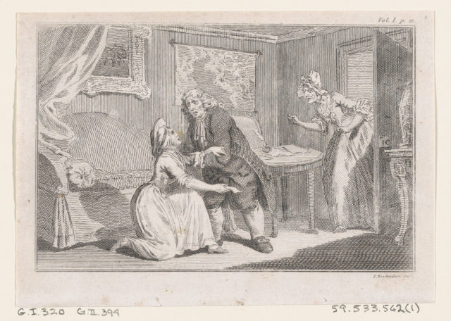 """Matthew Bramble Offering Charity to the Ensign's Widow, an illustration from Tobias Smollett's """"The Expedition of Humphry Clinker"""" (London, 1793), Vol. 1"""