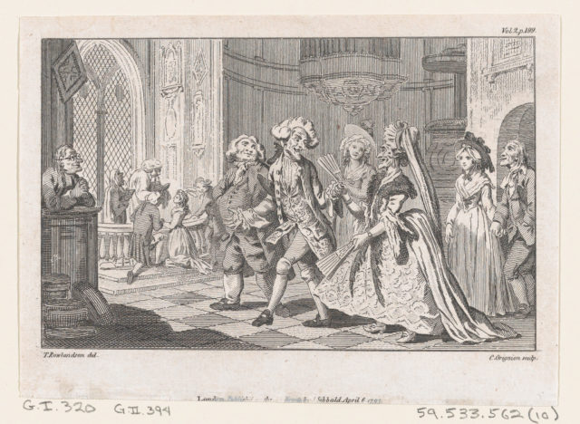 """The Wedding of Lismahago and Tabitha, an illustration from Tobias Smollett's """"The Expedition of Humphry Clinker"""" (London, 1793), Vol. 1. 1793"""