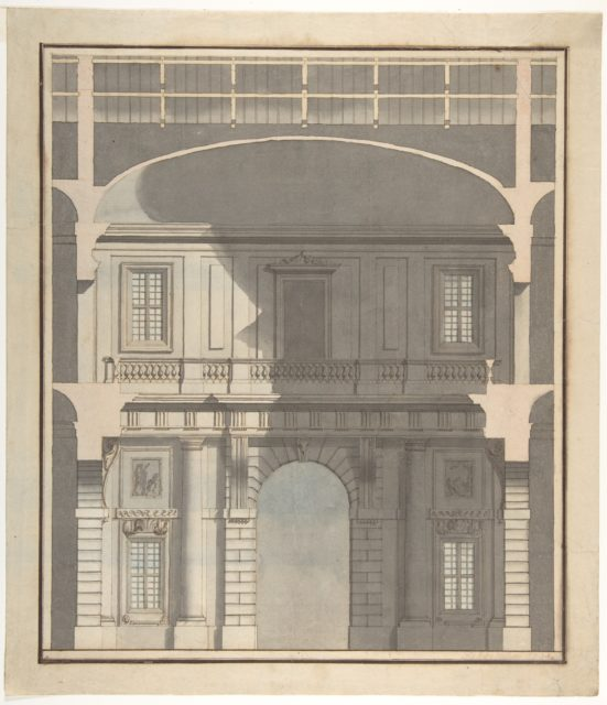 Design for a Stage Set: Design in Section of a Two-Storied Entrance Hall (Recto). Elevation Design for a Monumental Entrance with Columns and Rounded Pediment (Verso).