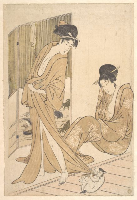 Two Young Women Wrapped in Yukata After a Bath
