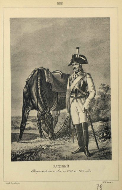 588. PRIVATE Cuirassier Regiment, from 1763 to 1778.
