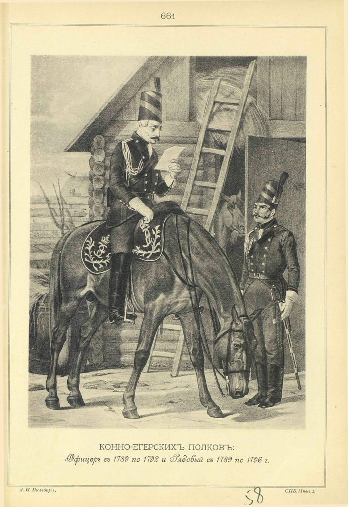 661. HORSE Jaeger Officer and PRIVATE in 1789-1796.