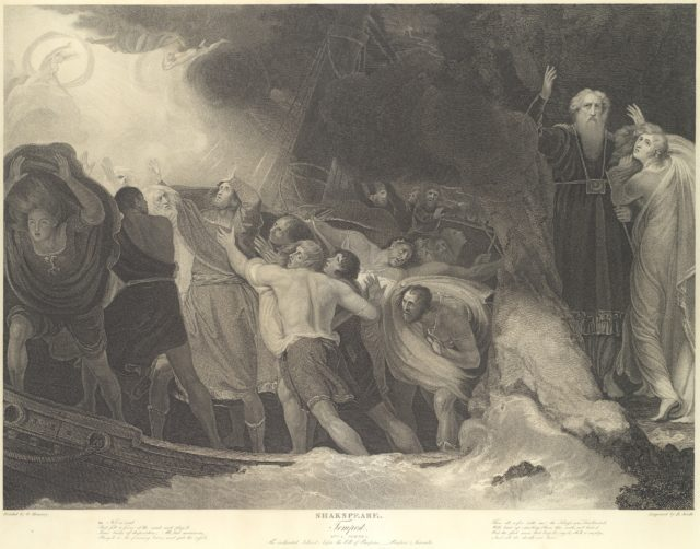 The Enchanted Island, Before the Cell of Prospero - Prospero and Miranda (Shakespeare, The Tempest, Act 1, Scene 1)