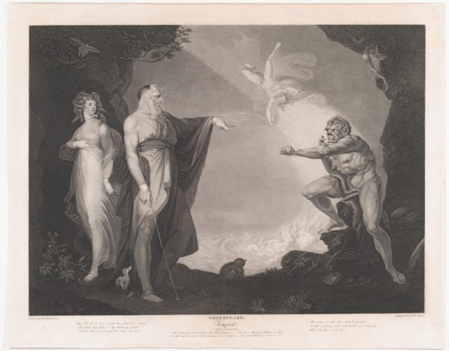 The Enchanted Island Before the Cell of Prospero - Prospero, Miranda, Caliban and Ariel (Shakespeare, The Tempest, Act 1, Scene 2)