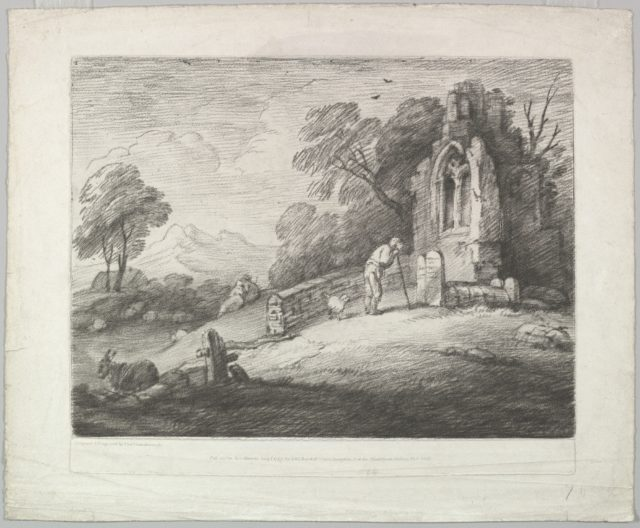 Wooded Landscape with a Peasant Reading a Tombstone, Rustic Lovers and a Ruined Church