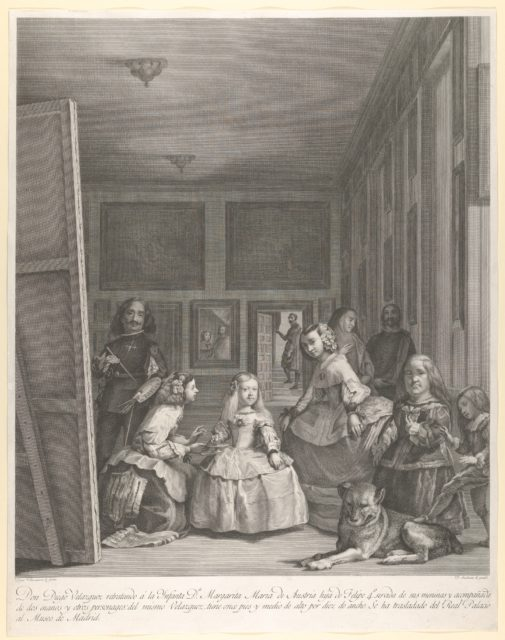 Las Meninas: the family of Philip IV in the foreground with the Infanta Margarita in the centre, Velázquez standing painting at left, the King and Queen reflected in the mirror in the background
