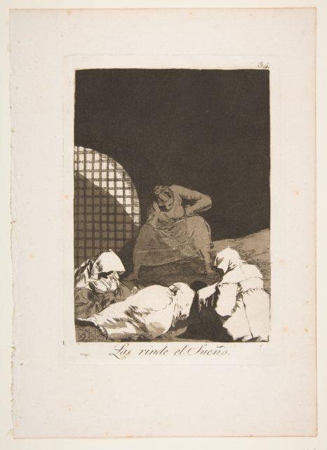Plate 34 from 'Los Caprichos': Sleep overcomes them (Las rinde el Sueño.)