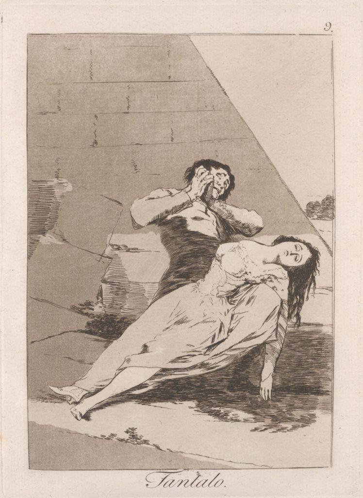 Plate 9 from 'Los Caprichos': Tantalus (Tantalo.)