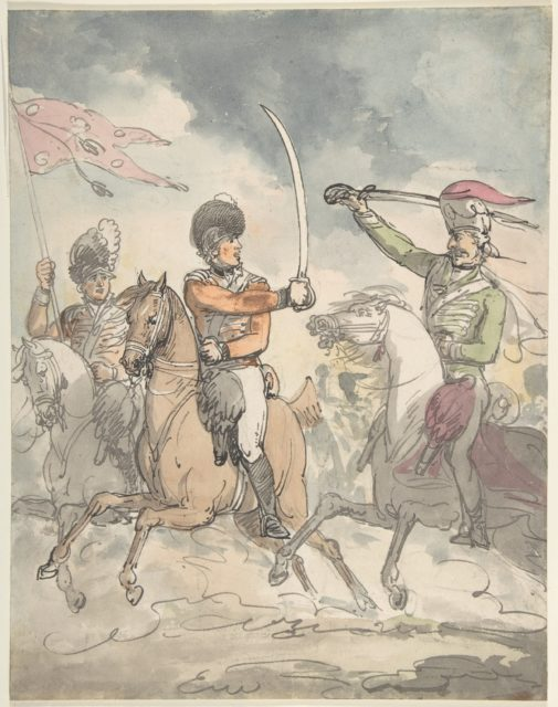 "Unused study for a plate to ""Hungarian and Highland Broadsword Exercise""  Feb. 12, 1799"