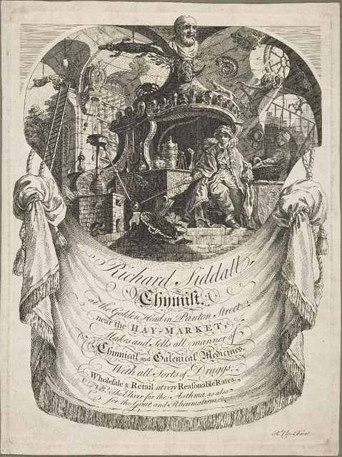 Trade card of Richard Siddall, chemist at the Golden Head in Panton Street