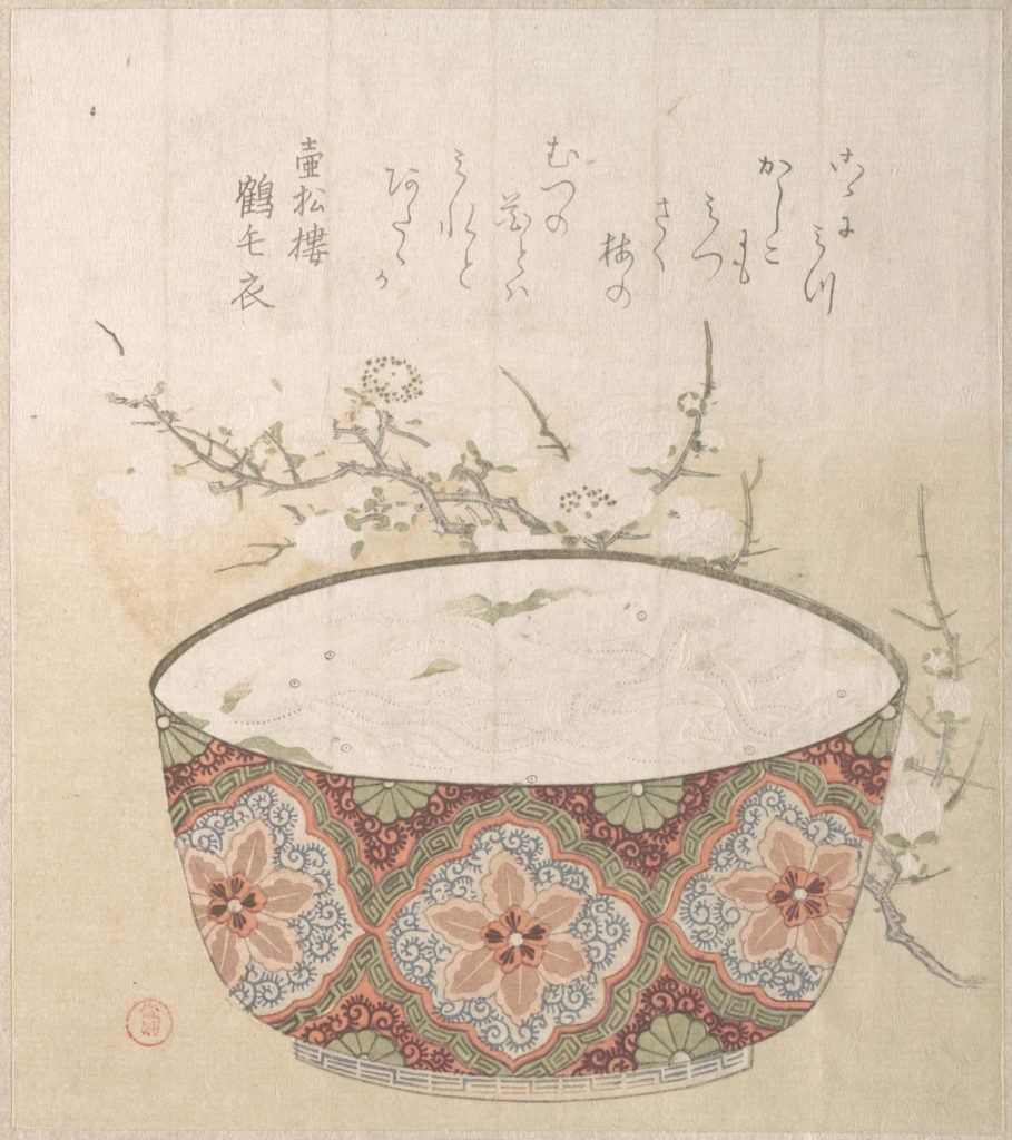 Bowl with White-Baits and Plum Blossoms