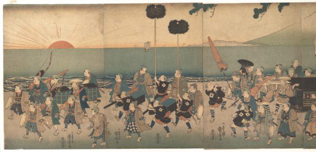 Boys Play-acting a Daimyo Procession