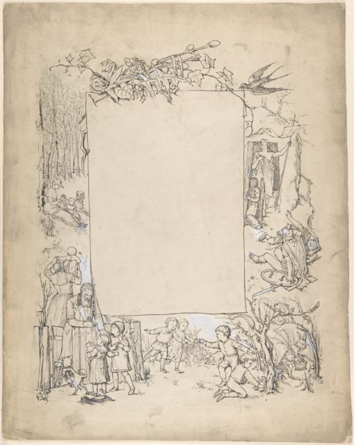 Cartouche framed with scenes of Christ leaving tomb and Easter Bunny