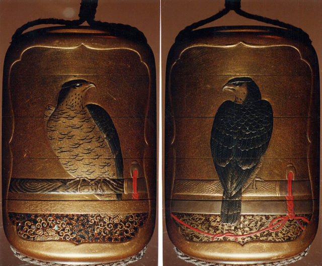 Case (Inrō) with Design of a Perched Hawk