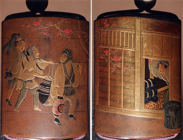 Case (Inrō) with Design of a Teahouse (obverse) Three Travelers En Route (reverse)