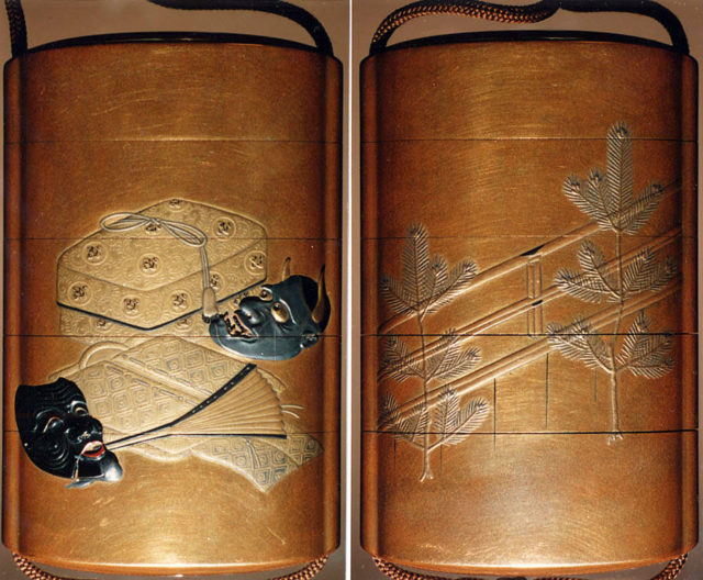 Case (Inrō) with Design of Actor's Masks, Robe and Fan beside Tasseled Box (obverse); Young Pine Trees beside Stage (reverse)