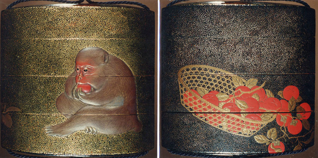 Case (Inrō) with Design of Basket of Persimmons (obverse); Monkey Eating Persimmon (reverse)